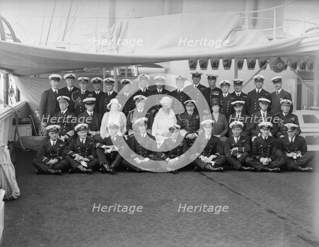 Queen Mary and King George V on board 'HMY Victoria and Albert', 1930. Creator: Kirk & Sons of Cowes.