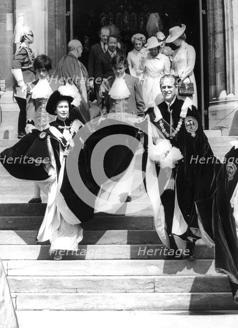 Queen Elizabeth II and Prince Philip attending the Garter Ceremony at St George's Chapel, c1960s. Artist: Unknown