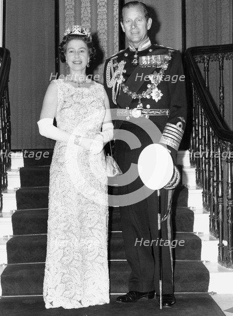 The Queen and Prince Philip on their silver wedding anniversary, Buckingham Palace, 1972. Artist: Unknown