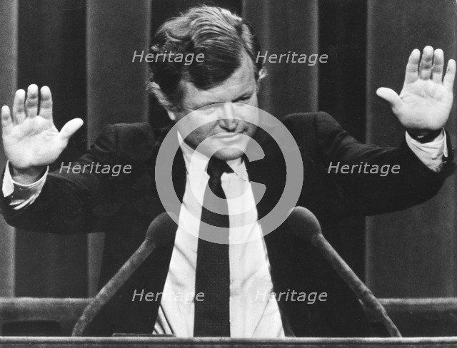 Senator Edward Kennedy addresses the Democratic Convention in Madison Square Garden, 1980. Artist: Unknown
