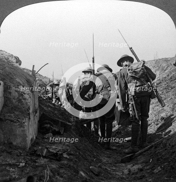 British troops in a captured trench, Hindenburg Line, France, World War I, 1917-1918.Artist: Realistic Travels Publishers