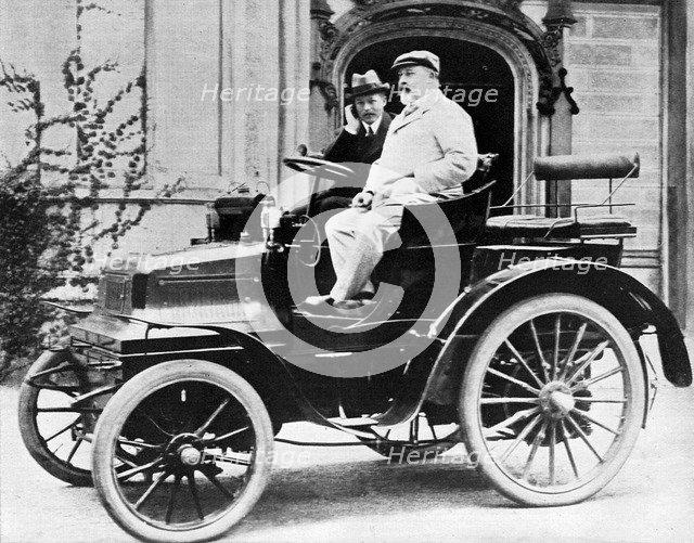 King Edward VII in Lord Montagu's 1899 Daimler 12hp, 1900. Artist: Unknown