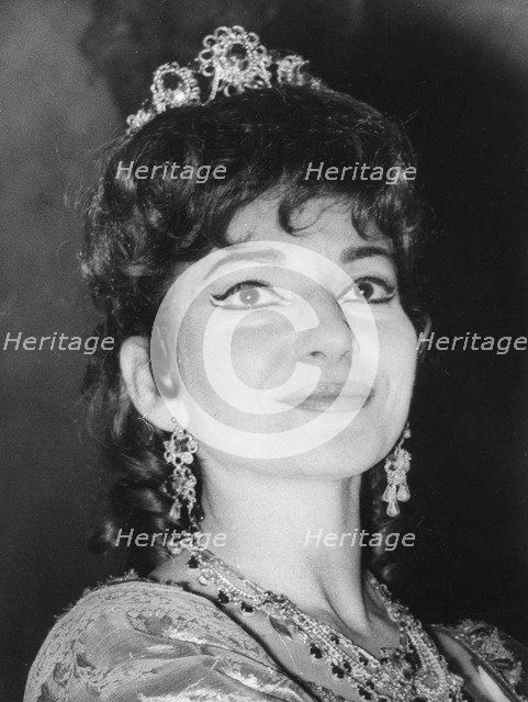 Maria Callas, Greek-born American opera singer, appearing in 'Tosca', c1950s-1960s(?). Artist: Unknown