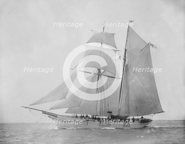 The 76 ton schooner 'Lisette' under sail. Creator: Kirk & Sons of Cowes.