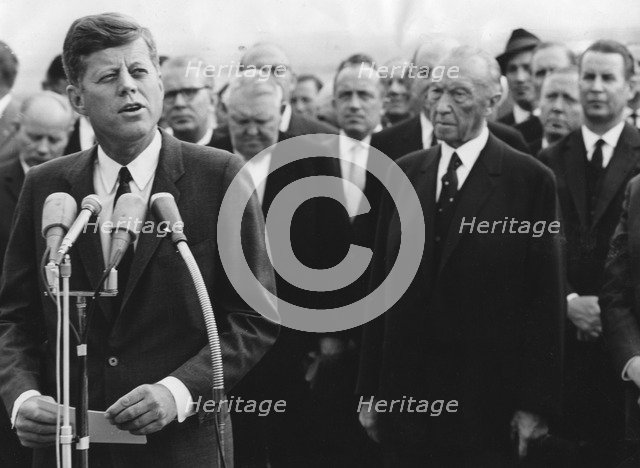 President Kennedy giving a speech at Cologne airport, Germany, 1963. Artist: Unknown