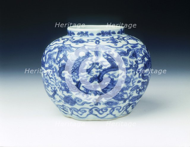 Blue and white lobed jar with dragons, Wanli period, Ming dynasty, China, 1572-1620. Artist: Unknown