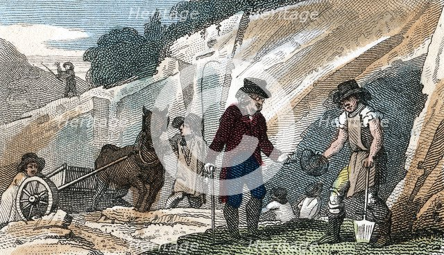 Fossil hunting in Cherry Hinton chalk pit, Cambridgeshire, 1822. Artist: Unknown
