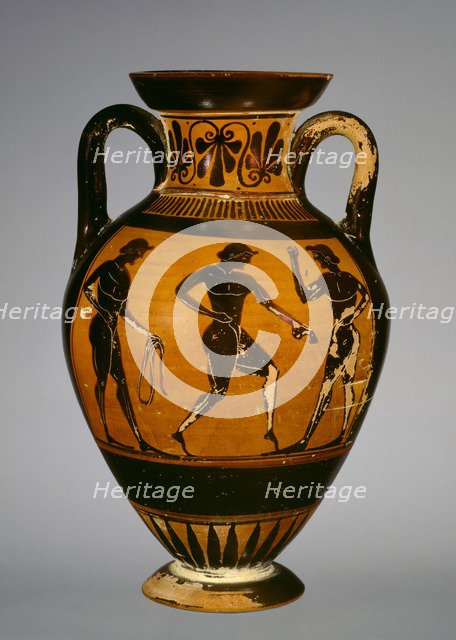 Panathenaic amphora with armed Athena (A) and three athletes (B), early 5th century BC,. Artist: Painter of Oxford 218.