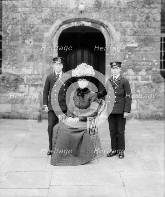 The Princess of Wales with Prince Edward and Prince Albert, Barton Manor, Isle of Wight, 1909. Creator: Kirk & Sons of Cowes.