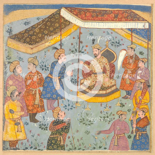 Reception of a Persian Ambassador by a Mughal Prince, early 17th century. Creator: Unknown.