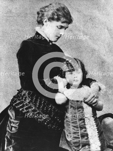 Winston Churchill (1874-1965) with his mother, Lady Randolph Churchill (1854-1921), 1870s. Artist: Unknown