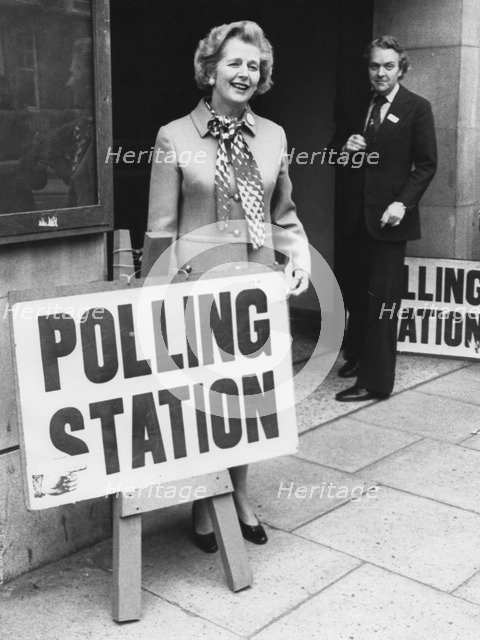 Margaret Thatcher outside a polling station, referendum day, 5th June 1975. Artist: Unknown