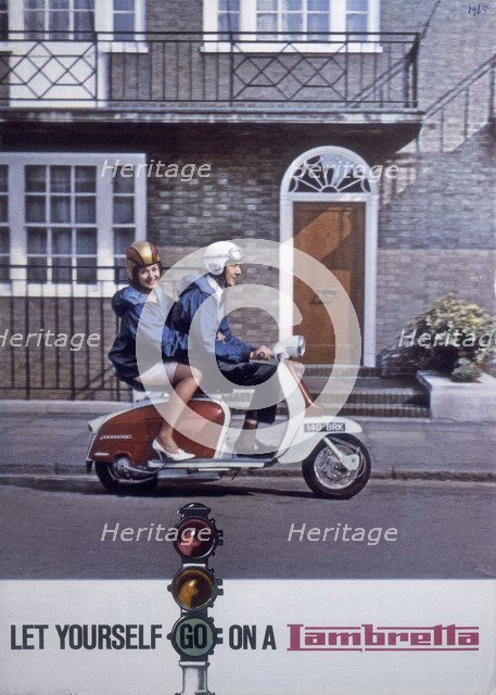 Poster advertising Lambretta scooters, 1963. Artist: Unknown