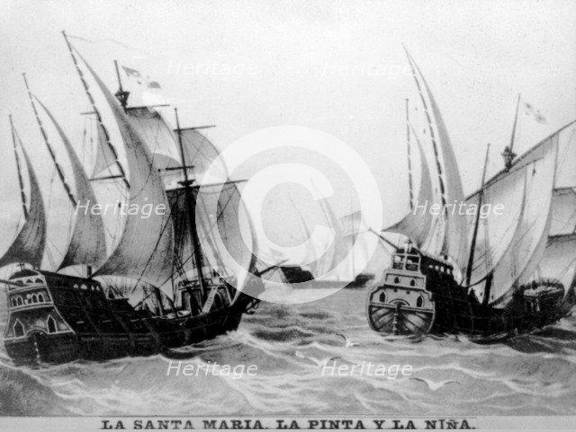 The Santa Maria, the pinta and the Nina, (15th century), 1920s. Artist: Unknown