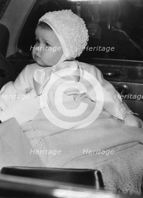 Lady Sarah Armstrong-Jones arrives at Prince Edward's birthday party, March 1965. Artist: Unknown