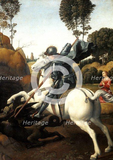 'Saint George and the Dragon', c1506. Artist: Raphael