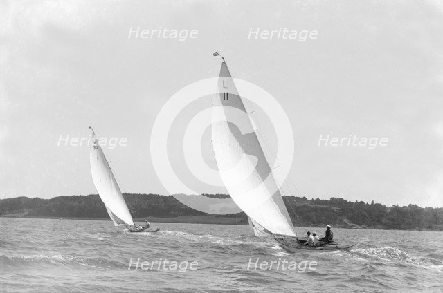 The 6-metre 'Wamba II' and 'Lanka' sailing on a reach, 1914. Creator: Kirk & Sons of Cowes.