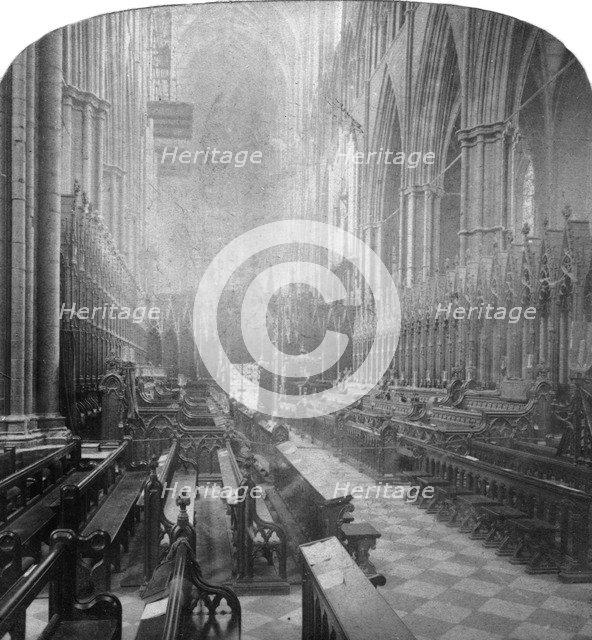 Interior of Westminster Abbey, London, late 19th century.Artist: Underwood & Underwood