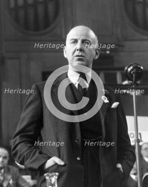 Labour Part Leader, Clement Attlee at Central Hall, Westminster, London, Sep 1954. Artist: Henry Grant