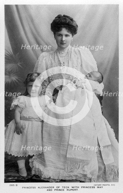 Princess Alexander of Teck with Princess May and Prince Rupert, c1907.Artist: Stuart Richmond