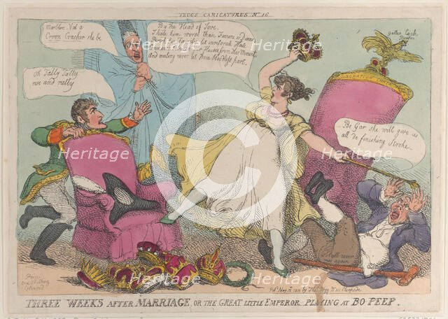 Three Weeks After Marriage, or the Great Little Emperor Playing at Bo-Peep, May 15..., May 15, 1810. Creator: Thomas Rowlandson.