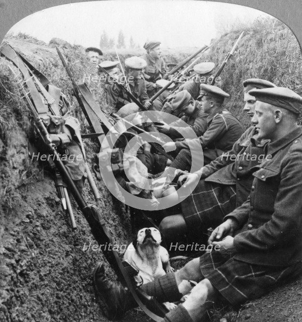 A section of Seaforth Highlanders snatching a moments respite, World War I, c1914-c1918. Artist: Realistic Travels Publishers