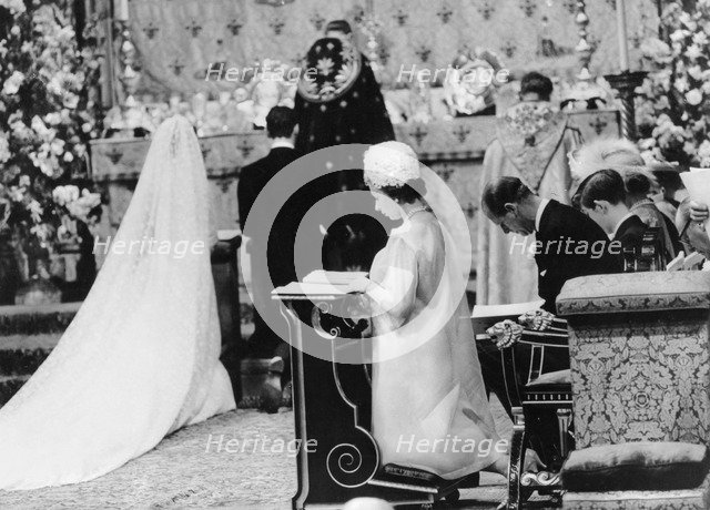 The Queen at the wedding of Princess Alexandra, Westminster Abbey, London, 1963. Artist: Unknown