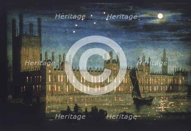View of the River Thames and Palace of Westminster at night, c1851. Artist: Anon