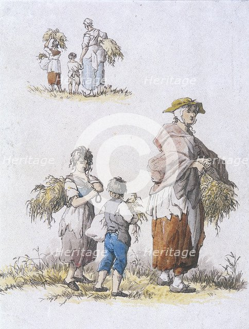 Women and  children gleaning, Provincial Characters, 1802. Artist: William Henry Pyne