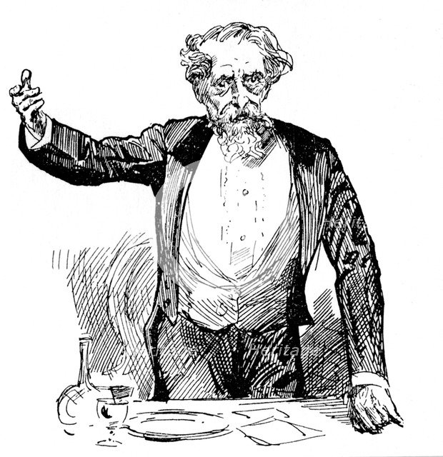 Charles Dickens giving an after-dinner speech, c1860s. Artist: Unknown