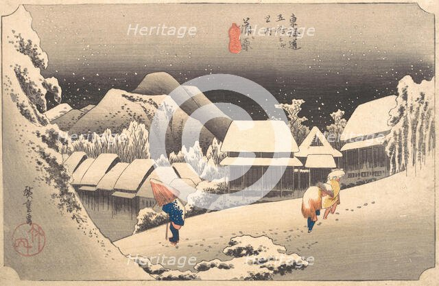 Evening Snow, 1797-1861., 1797-1861. Creator: Ando Hiroshige.