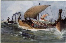 Thumbnail image of Viking longships under sail. Artist: Albert Sebille