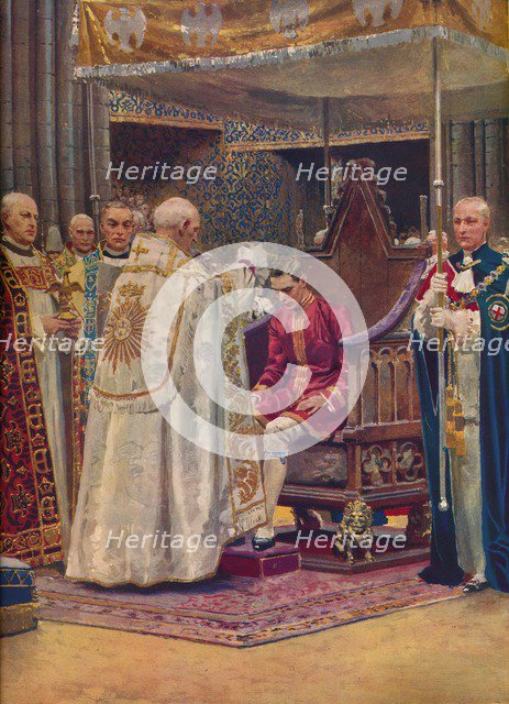 'The Anointing: The Archbishop Making the Sign of the Cross on the King's Head', 1937. Artist: Unknown.