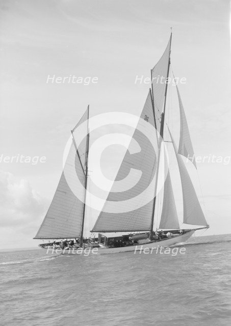 The 147 ton ketch 'Thendara' sailing upwind. 1939. Creator: Kirk & Sons of Cowes.