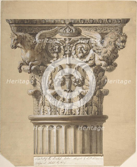 The British Order: Elevation of a Capital and Part of the Fluted Shaft, 1762. Creator: James Adam.