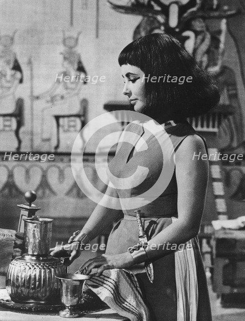 Elizabeth Taylor, British actress, starring in the title role in Cleopatra, 1963. Artist: Unknown