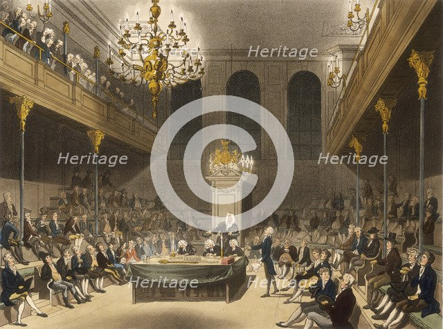 Interior of the House of Commons, Westminter, London, 1809. Artist: Unknown