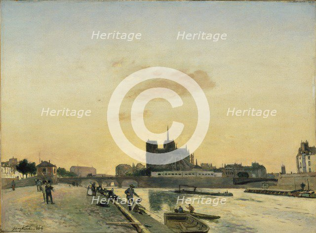 View of Notre-Dame, Paris, 1864. Artist: Johan Barthold Jongkind.