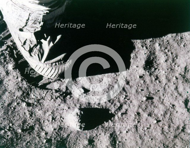 Buzz Aldrin's footprint on the Moon, Apollo 11 mission, July 1969.  Creator: Buzz Aldrin.