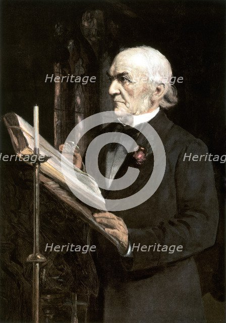 'Mr Gladstone reading the lessons in Hawarden Church', late 19th century.Artist: Sydney Prior Hall