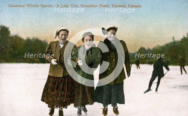 Canadian Winter Sports: A Jolly Trio, Grenadier Pond, Toronto, Canada, 20th Century.Artist: Valentine & Sons Publishing Co