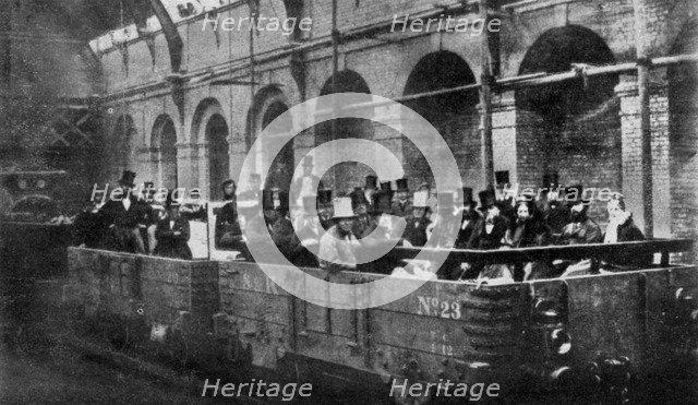 Prime Minister William Gladstone opens the Metropolitan Railway, London, 1863 (1951). Artist: Unknown