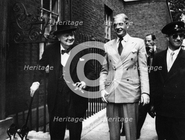 Sir Winston Churchill (1874-1965) and Anthony Eden (1897-1977), c1955. Artist: Unknown