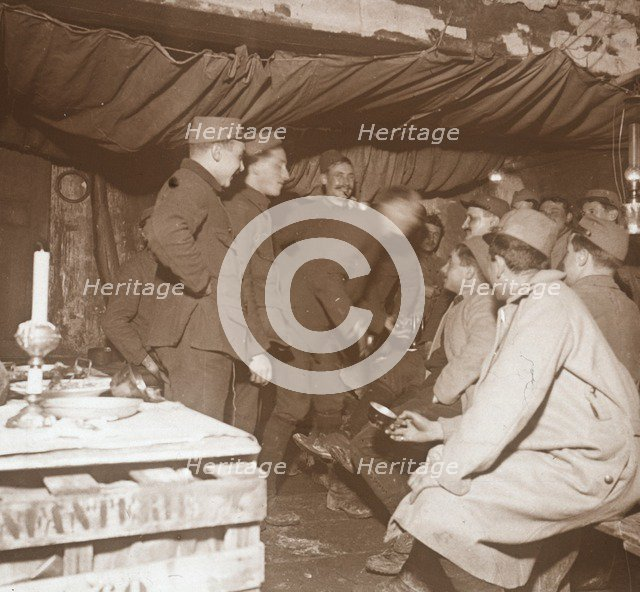 Soldiers in a shelter, Genicourt, northern France, c1914-c1918. Artist: Unknown.