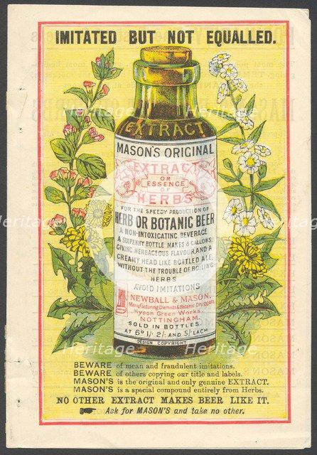 Newball & Mason Extract of Herbs, 1890s. Artist: Unknown
