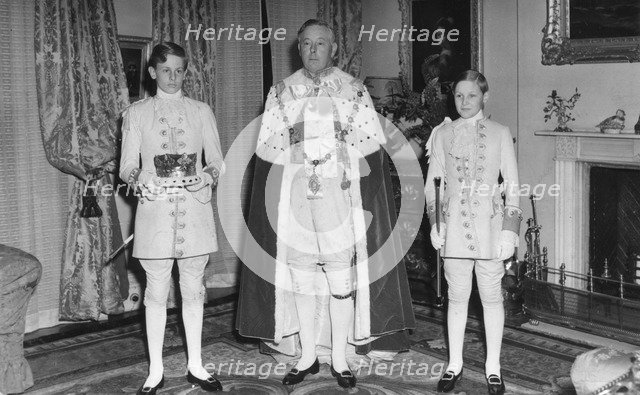 The Duke of Norfolk, the Earl Marshal, in his coronation day robes, May 1953. Artist: Unknown
