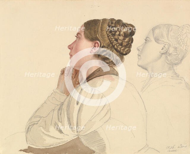 Studies of a Woman Praying, early to mid-19th century. Creator: Ludwig Emil Grimm.