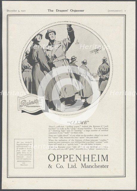 Oppenheim & Co Menswear, 1929. Artist: Wilfred Fryer