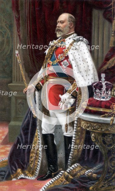 Edward VII in full coronation robes, 1902. Artist: Unknown