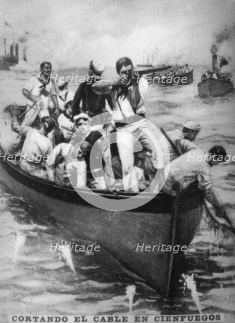 Cutting the Cienfuegos Cables, (1898), 1920s. Artist: Unknown